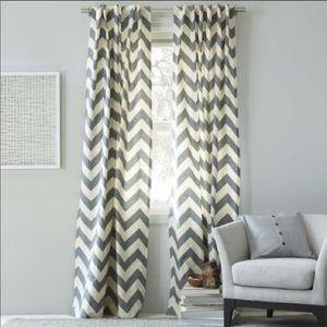 West Elm Grey & Beige Chevron Curtains